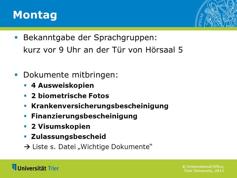 Montag Bekanntgabe der Sprachgruppen: