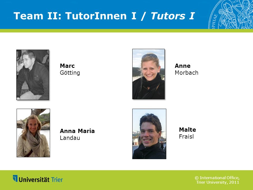 Team II: TutorInnen I / Tutors I