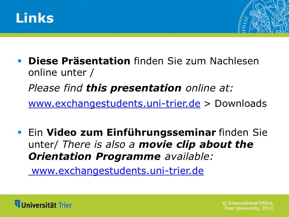Links Please find this presentation online at:
