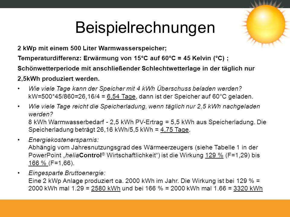 Beispielrechnungen 2 kWp mit einem 500 Liter Warmwasserspeicher;