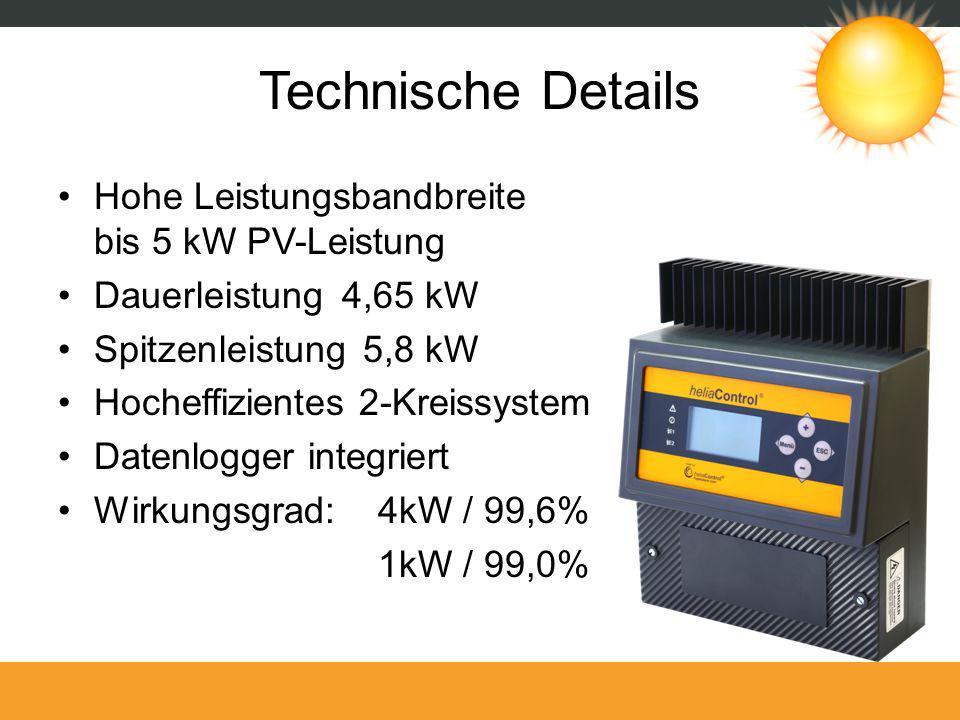 Technische Details Hohe Leistungsbandbreite bis 5 kW PV-Leistung