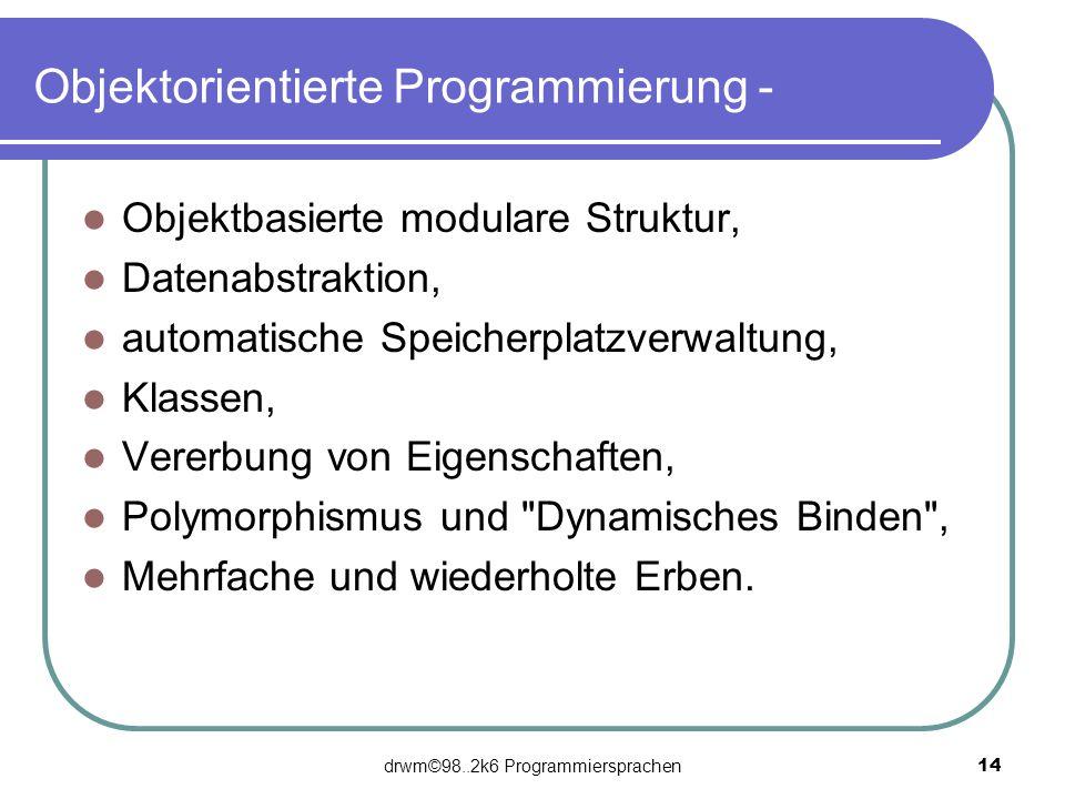 Objektorientierte Programmierung -