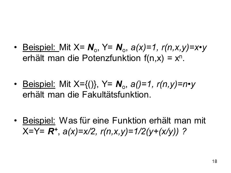 Beispiel: Mit X= No, Y= No, a(x)=1, r(n,x,y)=x•y erhält man die Potenzfunktion f(n,x) = xn.