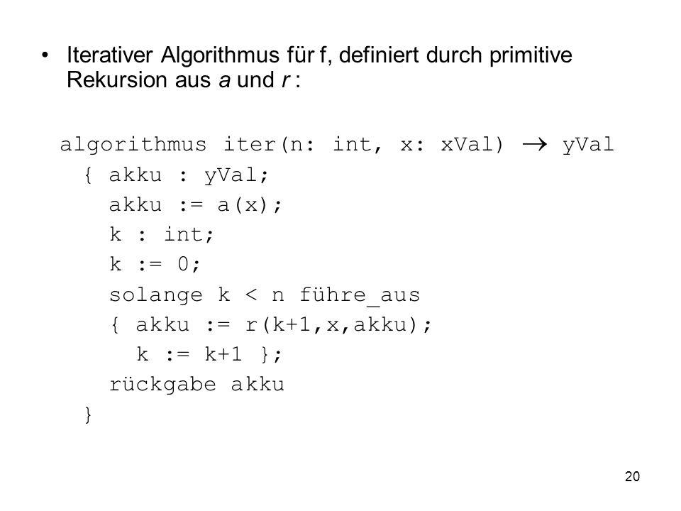 Iterativer Algorithmus für f, definiert durch primitive Rekursion aus a und r :