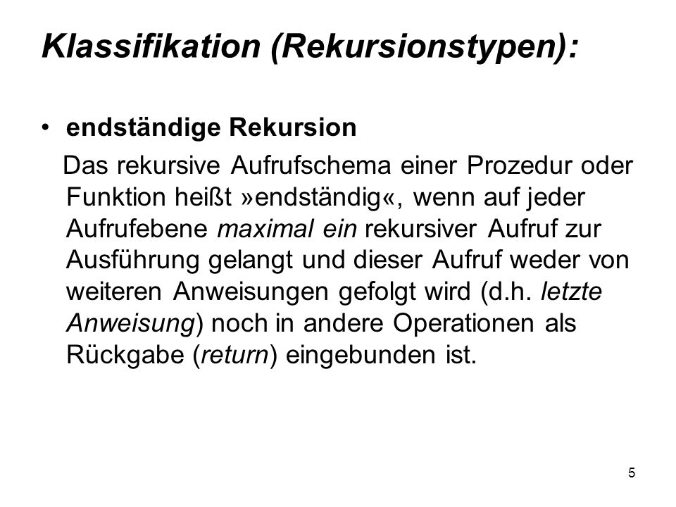 Klassifikation (Rekursionstypen):