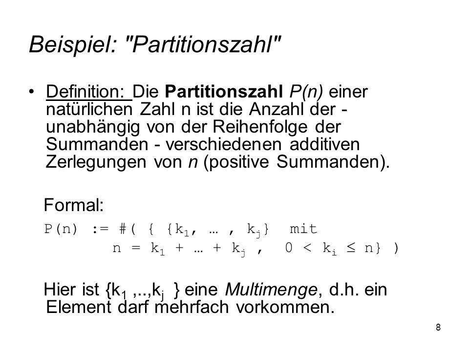 Beispiel: Partitionszahl