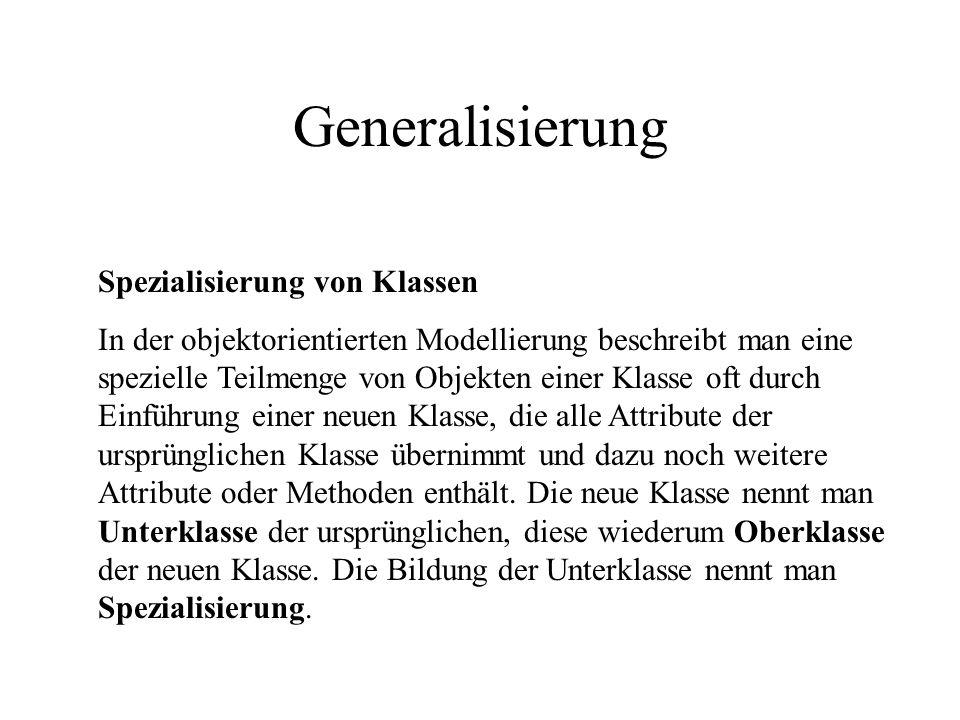 Generalisierung Spezialisierung von Klassen