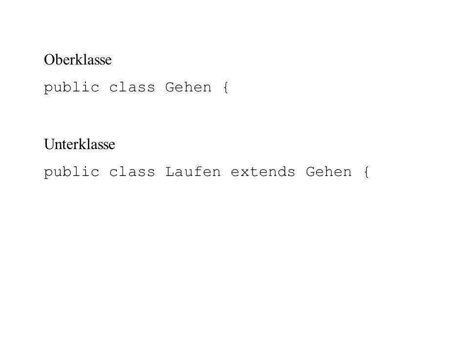 Oberklasse public class Gehen { Unterklasse public class Laufen extends Gehen {