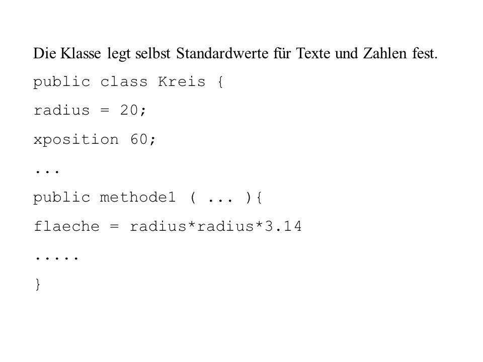 Die Klasse legt selbst Standardwerte für Texte und Zahlen fest.