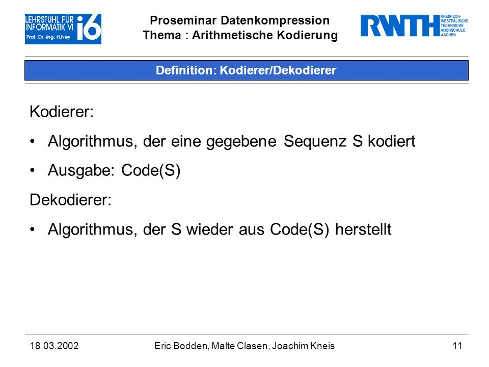 Definition: Kodierer/Dekodierer
