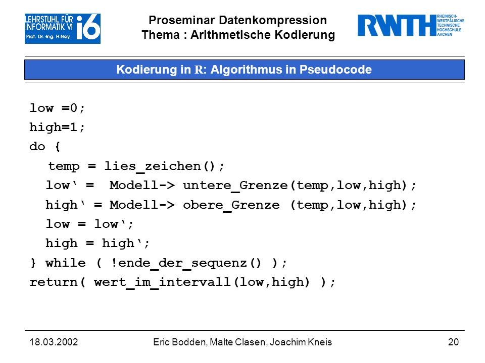 Kodierung in R: Algorithmus in Pseudocode