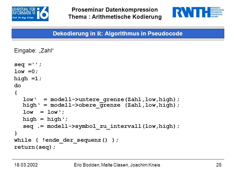 Dekodierung in R: Algorithmus in Pseudocode