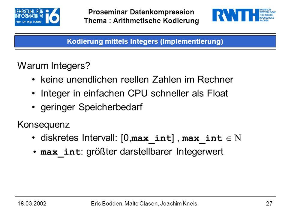 Kodierung mittels Integers (Implementierung)