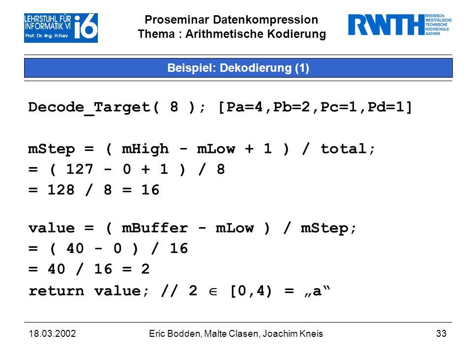 Beispiel: Dekodierung (1)