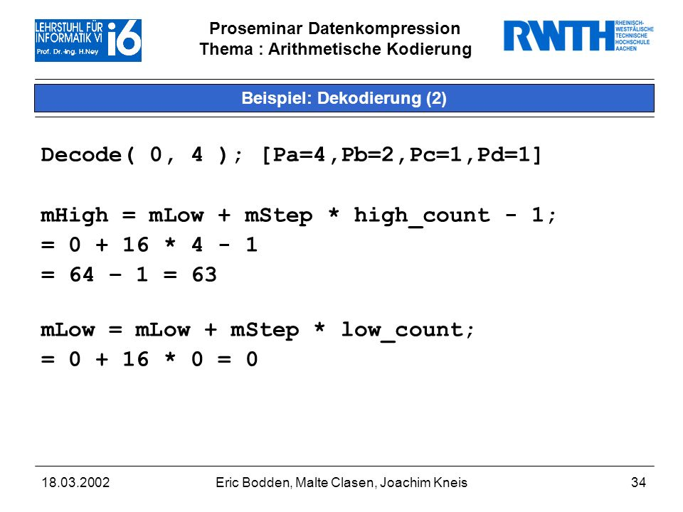 Beispiel: Dekodierung (2)
