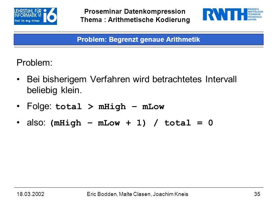Problem: Begrenzt genaue Arithmetik