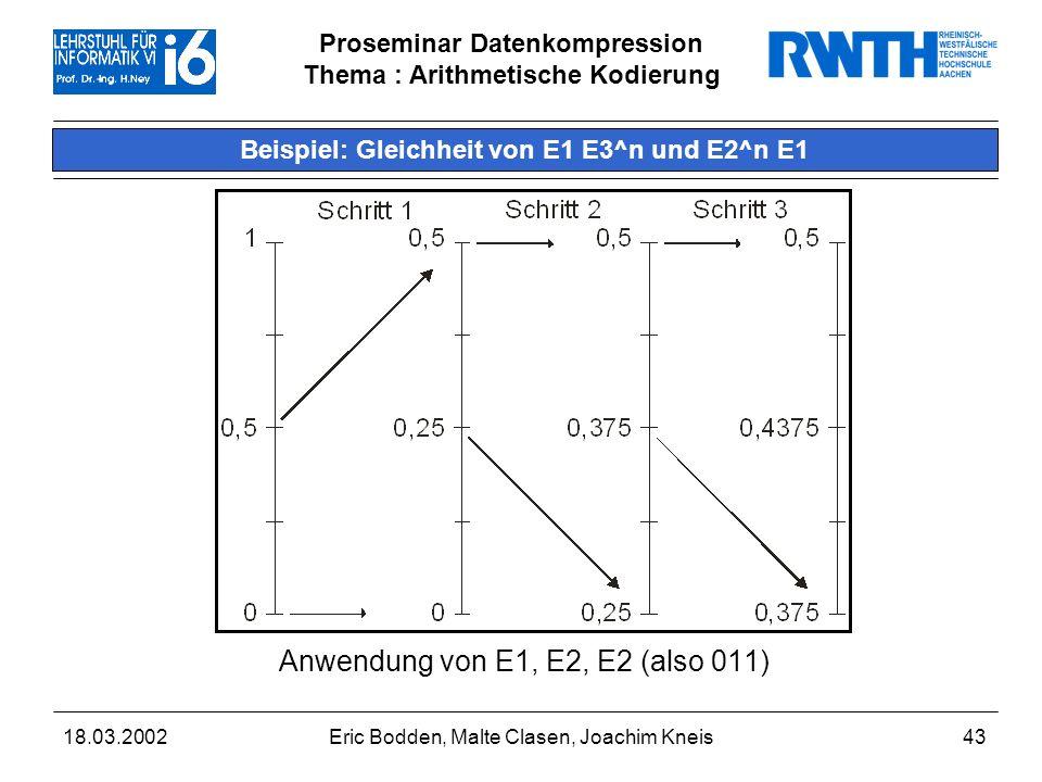 Beispiel: Gleichheit von E1 E3^n und E2^n E1