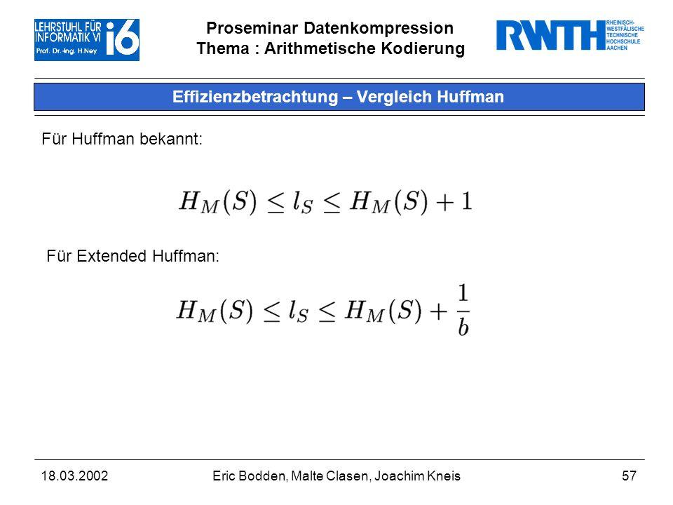 Effizienzbetrachtung – Vergleich Huffman
