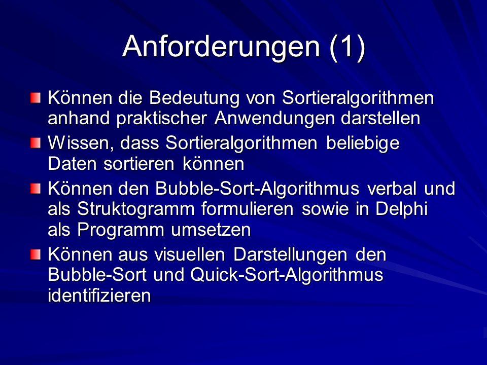 Anforderungen (1) Können die Bedeutung von Sortieralgorithmen anhand praktischer Anwendungen darstellen.