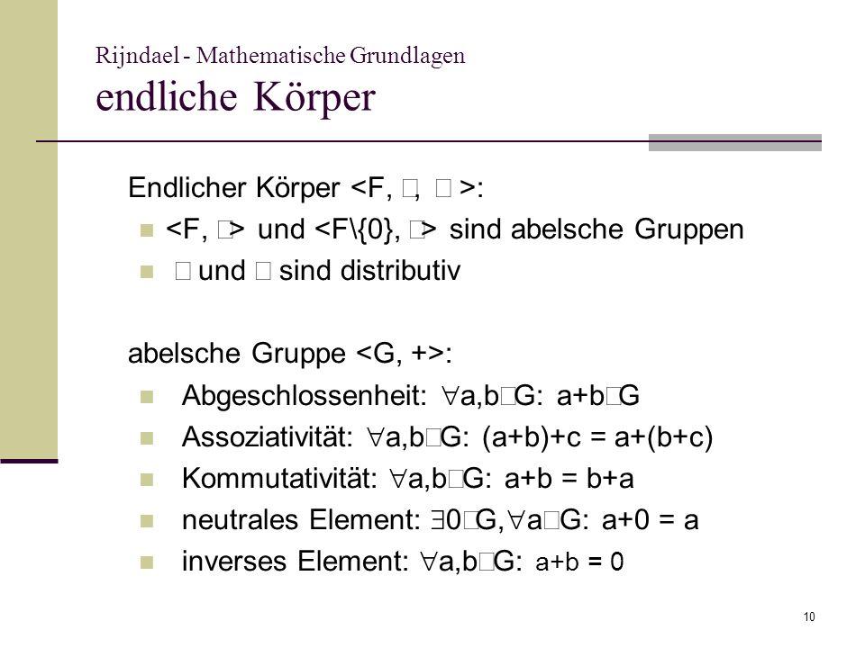 Rijndael - Mathematische Grundlagen endliche Körper