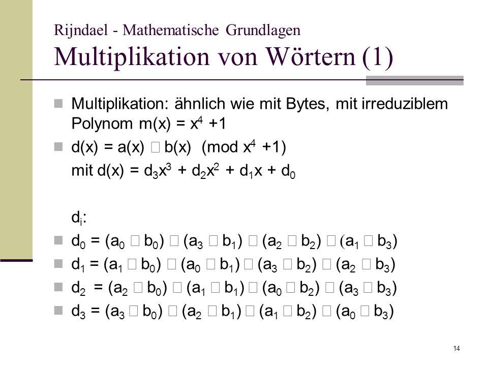 Rijndael - Mathematische Grundlagen Multiplikation von Wörtern (1)