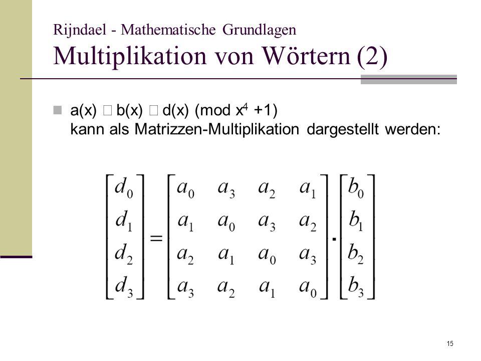 Rijndael - Mathematische Grundlagen Multiplikation von Wörtern (2)
