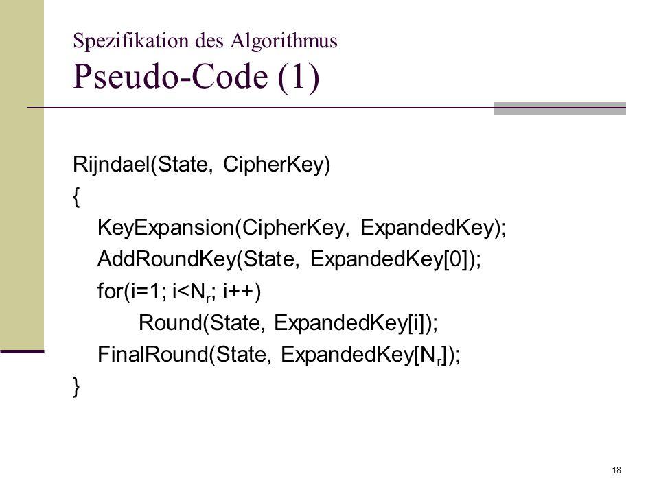 Spezifikation des Algorithmus Pseudo-Code (1)