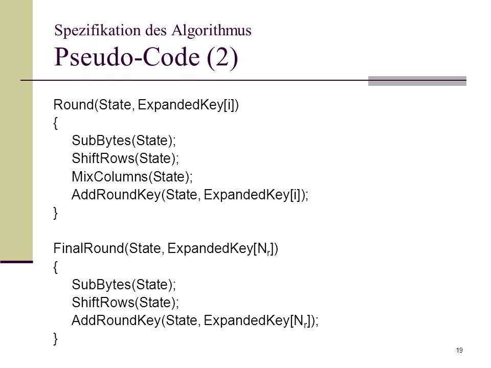 Spezifikation des Algorithmus Pseudo-Code (2)