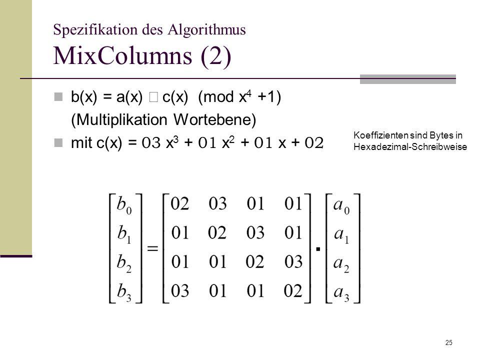 Spezifikation des Algorithmus MixColumns (2)