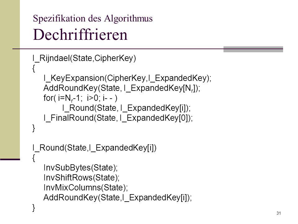 Spezifikation des Algorithmus Dechriffrieren