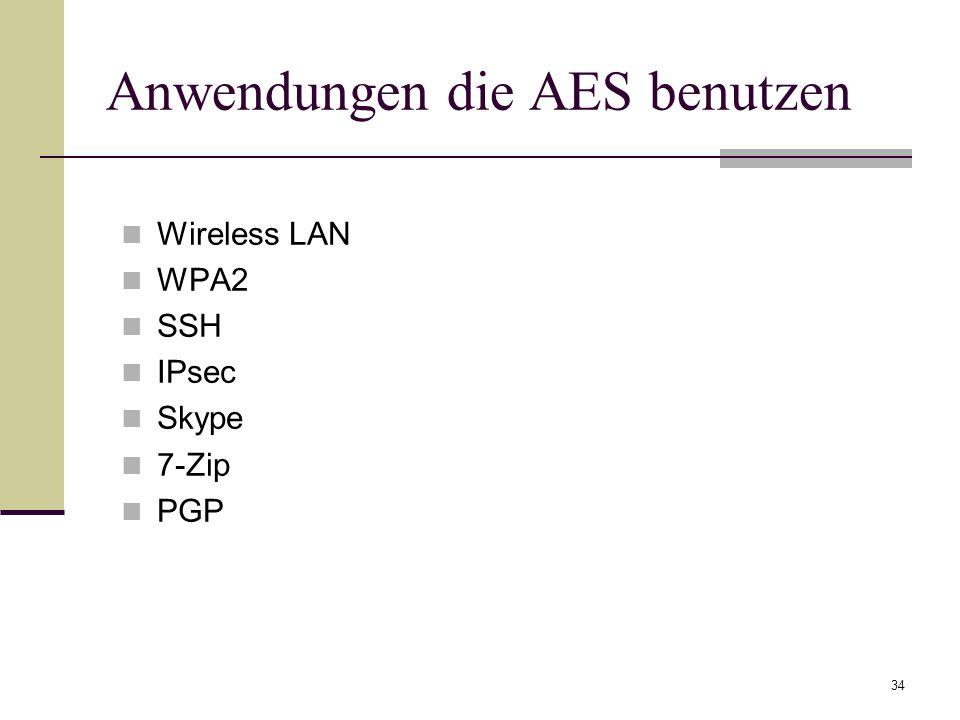 Anwendungen die AES benutzen