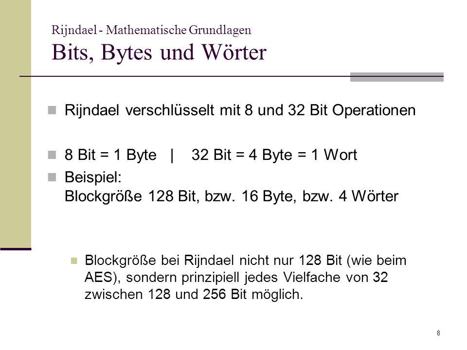 Rijndael - Mathematische Grundlagen Bits, Bytes und Wörter