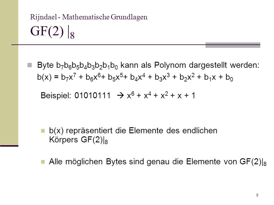 Rijndael - Mathematische Grundlagen GF(2) |8