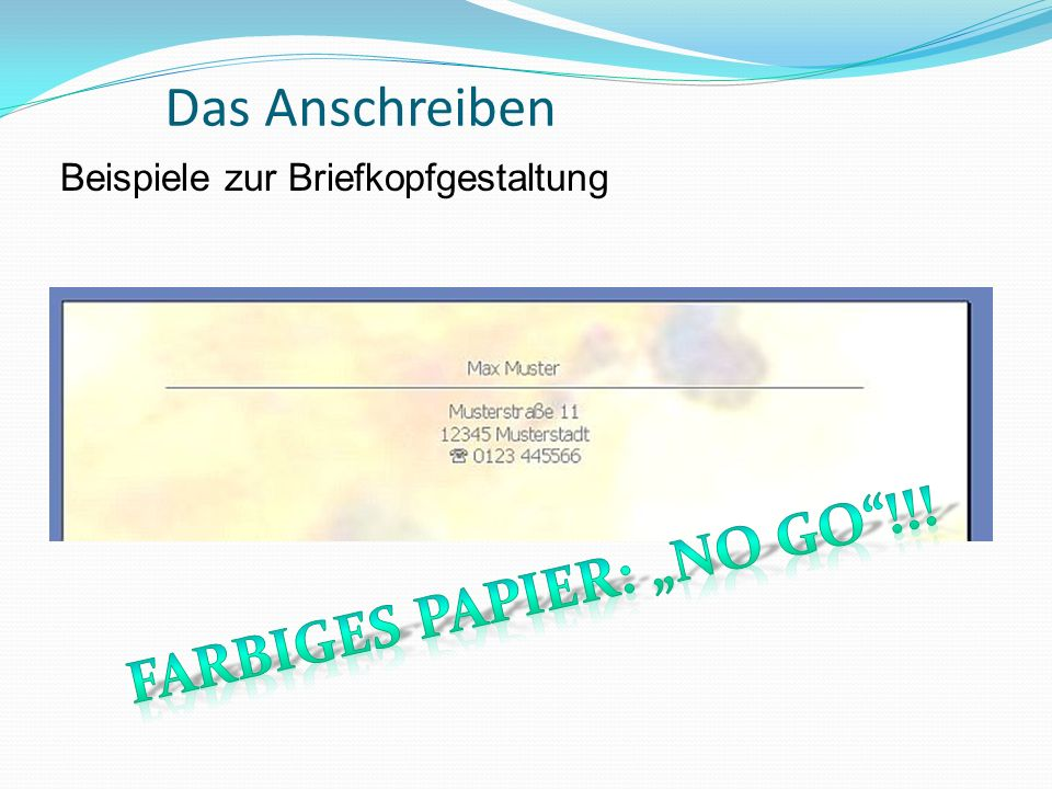 "Farbiges Papier: ""no Go !!!"