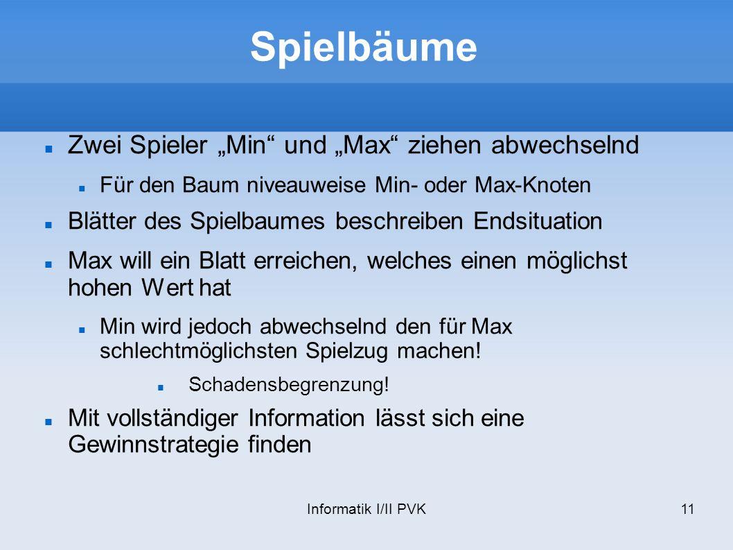"""Spielbäume Zwei Spieler """"Min und """"Max ziehen abwechselnd"""