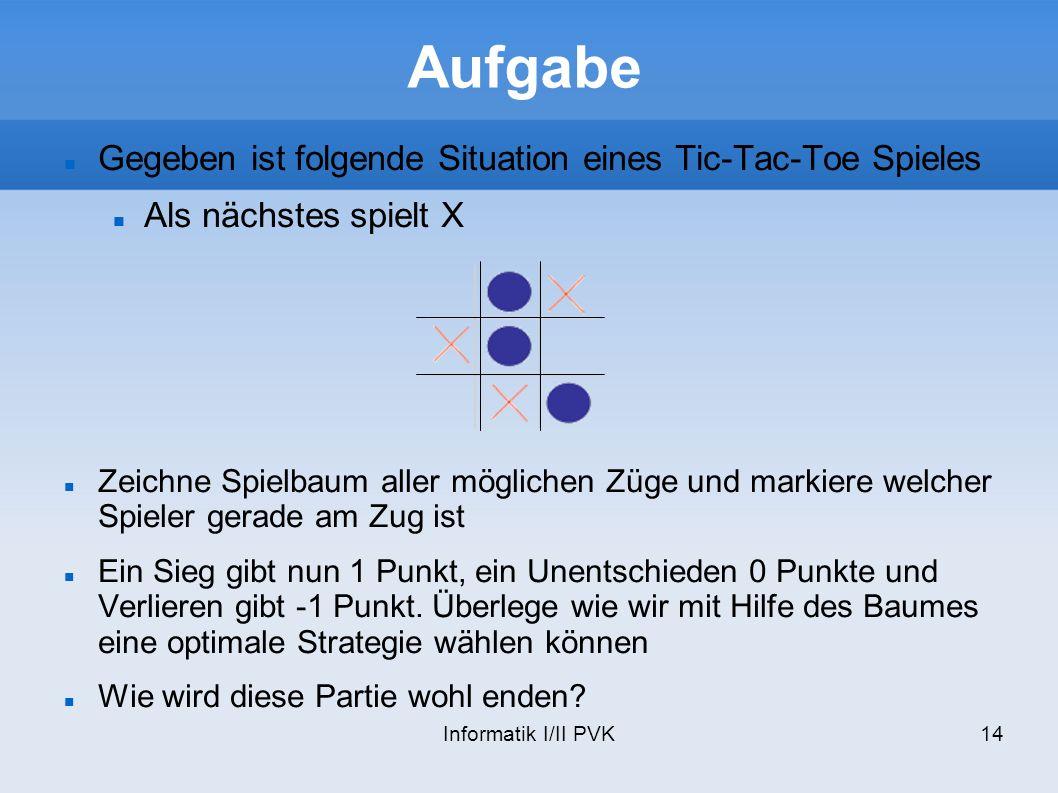 Aufgabe Gegeben ist folgende Situation eines Tic-Tac-Toe Spieles
