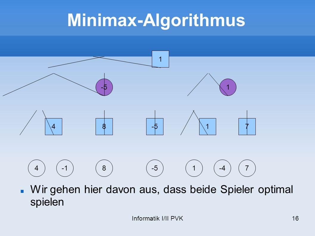 Minimax-Algorithmus 1. -5. 1. 4. 8. -5. 1. 7. 4. -1. 8. -5. 1. -4. 7. Wir gehen hier davon aus, dass beide Spieler optimal spielen.