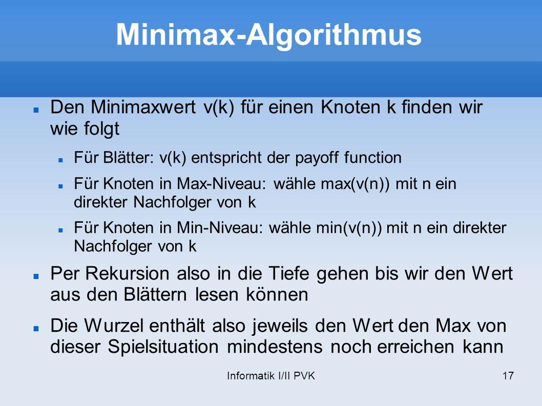 Minimax-Algorithmus Den Minimaxwert v(k) für einen Knoten k finden wir wie folgt. Für Blätter: v(k) entspricht der payoff function.
