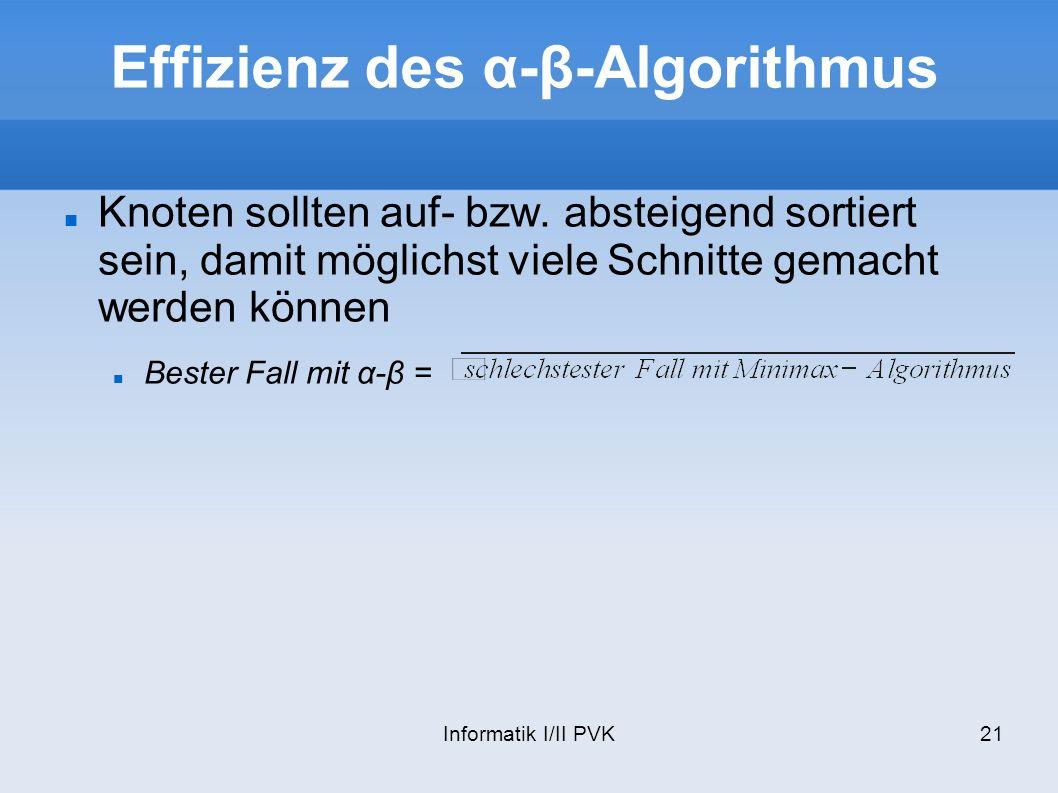 Effizienz des α-β-Algorithmus