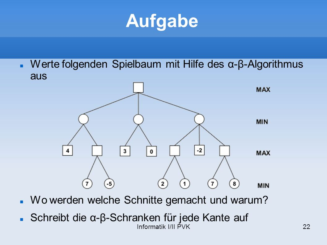 Aufgabe Werte folgenden Spielbaum mit Hilfe des α-β-Algorithmus aus