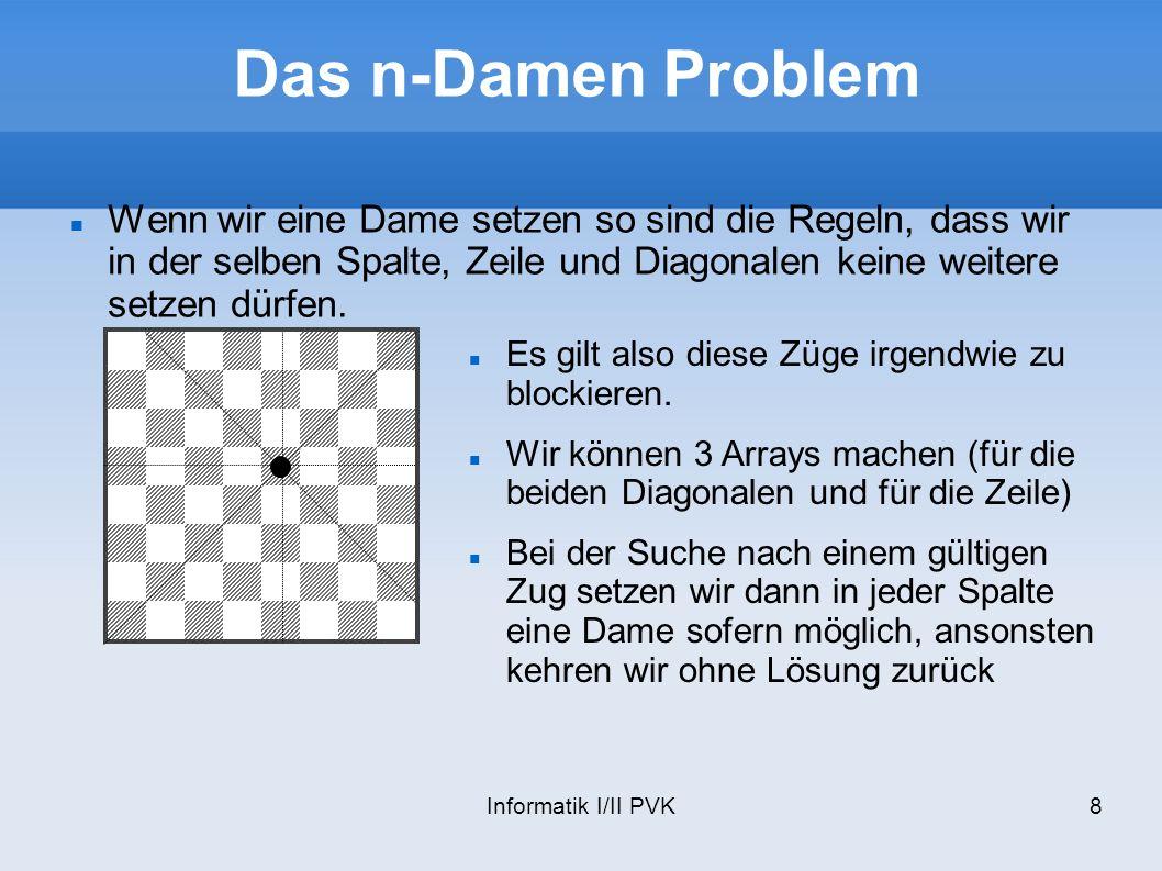 Das n-Damen Problem Wenn wir eine Dame setzen so sind die Regeln, dass wir in der selben Spalte, Zeile und Diagonalen keine weitere setzen dürfen.