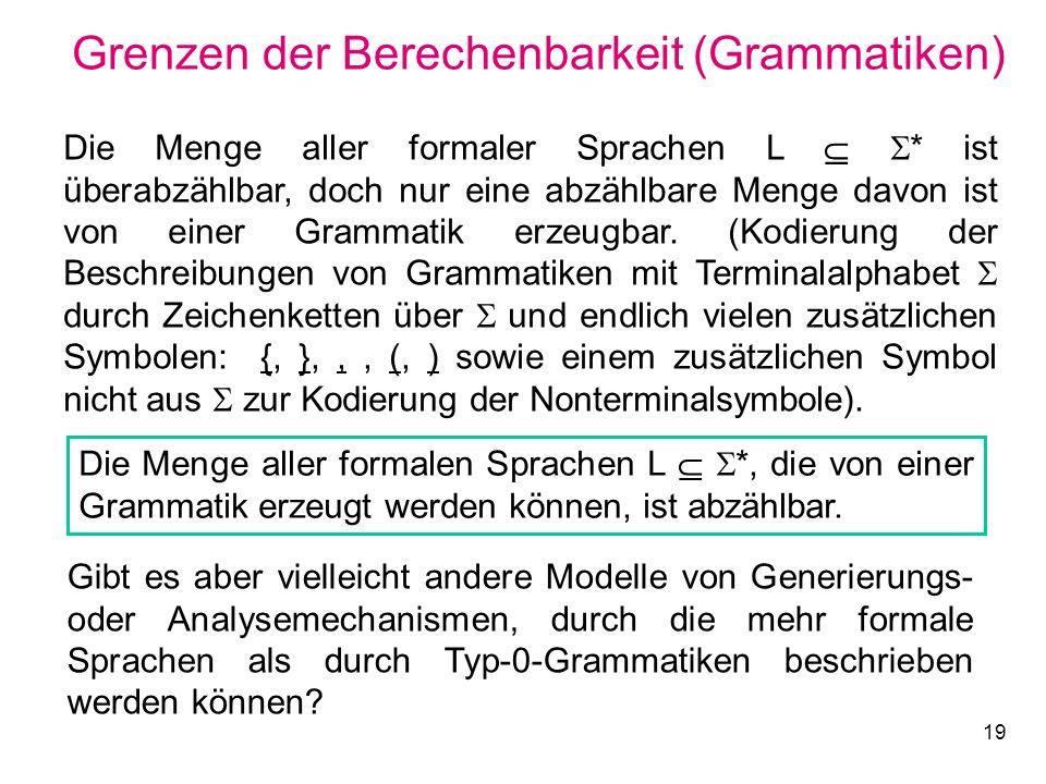 Grenzen der Berechenbarkeit (Grammatiken)
