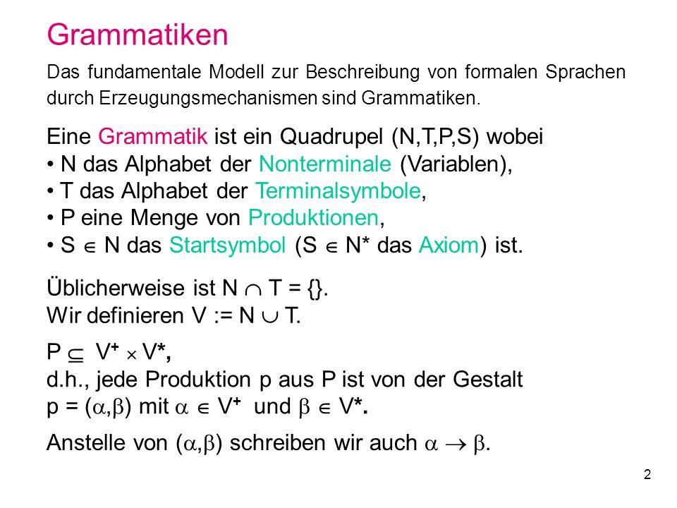 Grammatiken Eine Grammatik ist ein Quadrupel (N,T,P,S) wobei