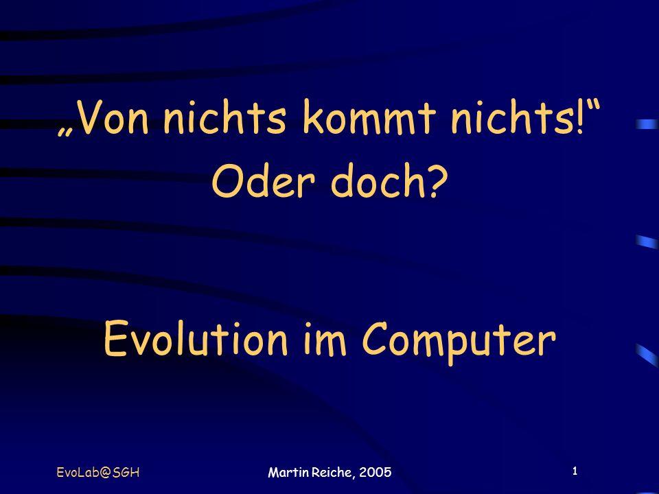 """""""Von nichts kommt nichts! Oder doch Evolution im Computer"""