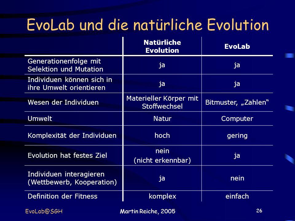 EvoLab und die natürliche Evolution