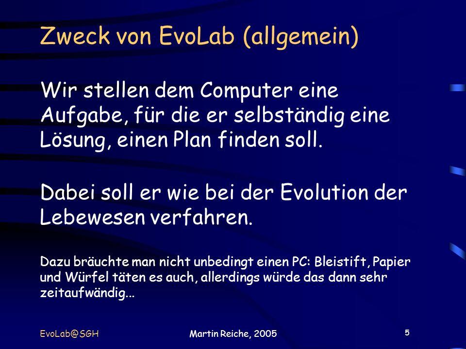 Zweck von EvoLab (allgemein) Wir stellen dem Computer eine Aufgabe, für die er selbständig eine Lösung, einen Plan finden soll. Dabei soll er wie bei der Evolution der Lebewesen verfahren. Dazu bräuchte man nicht unbedingt einen PC: Bleistift, Papier und Würfel täten es auch, allerdings würde das dann sehr zeitaufwändig...