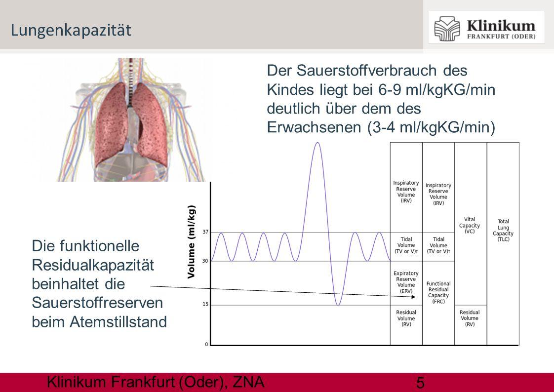 Lungenkapazität 10.03.13. Der Sauerstoffverbrauch des Kindes liegt bei 6-9 ml/kgKG/min deutlich über dem des Erwachsenen (3-4 ml/kgKG/min)