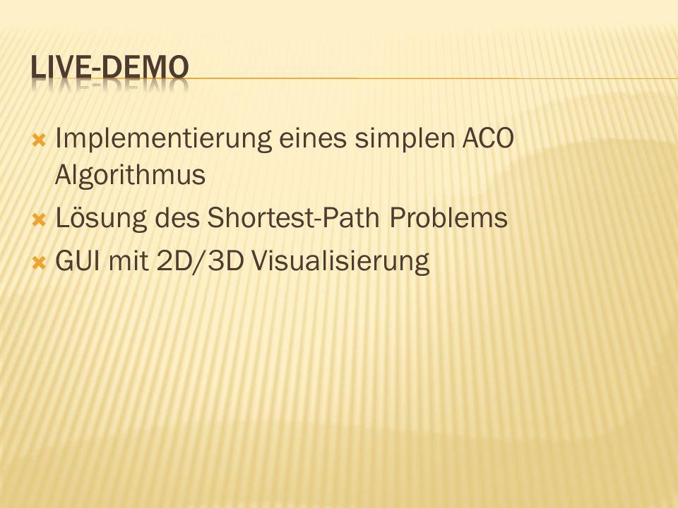 Live-Demo Implementierung eines simplen ACO Algorithmus