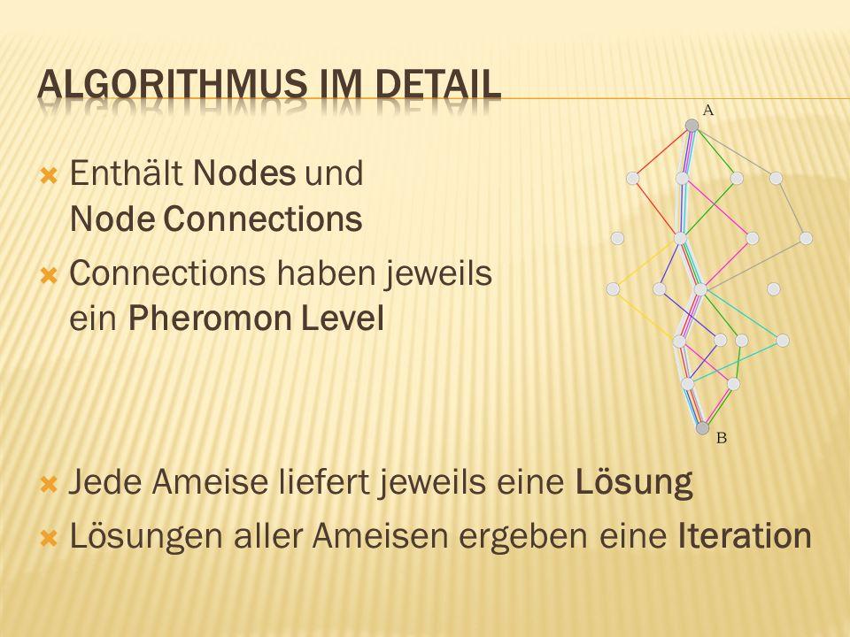 Algorithmus im Detail Enthält Nodes und Node Connections