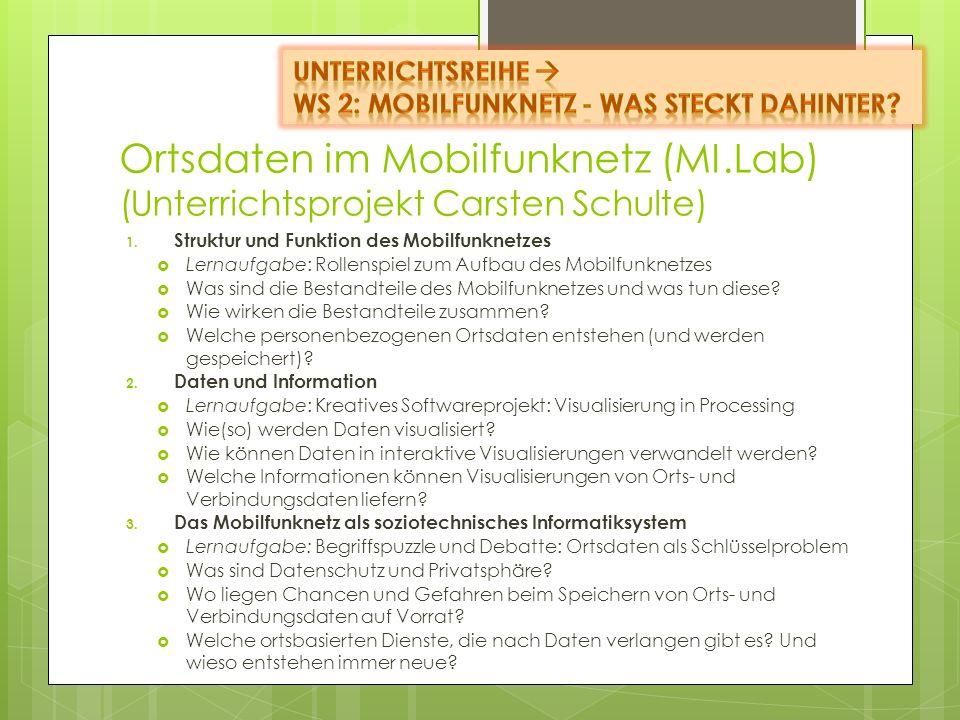 Unterrichtsreihe  WS 2: Mobilfunknetz - Was steckt dahinter Ortsdaten im Mobilfunknetz (MI.Lab) (Unterrichtsprojekt Carsten Schulte)